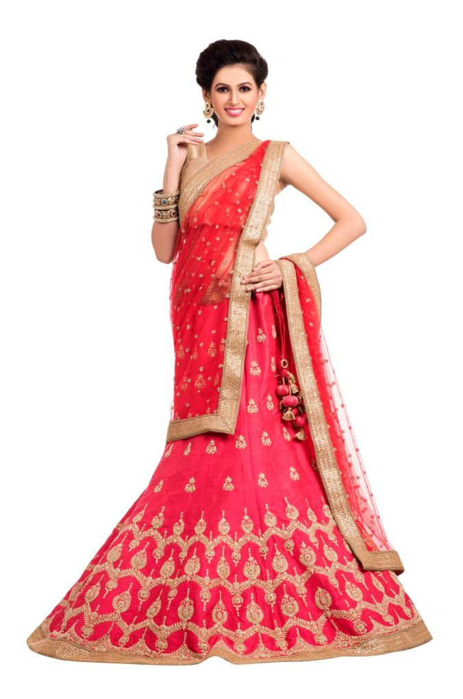 Ethnic Dukaan.com Pink Pure Silk Lehenga With Zari Embroidery Sequins and Crystal Embellishments price 34910
